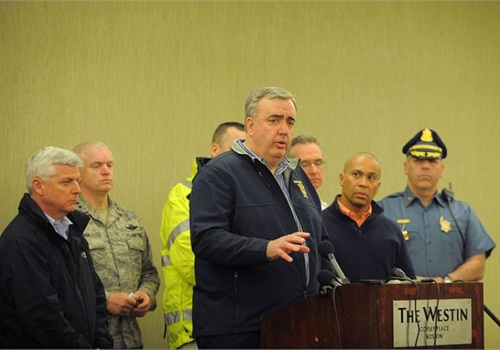 Boston Police Commissioner Ed Davis briefs the media on April 15 about the Boston Marathon bombings. Photo via Michael Cummo/Wikimedia.