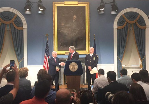 Bratton announced his plans to step down as NYPD commissioner in a press conference. (Photo: NYPD Facebook)