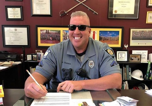"""The Mayor of Salisbury (MD) has ordered flags flown at half-staff after the off-duty death of Master Police Aaron """"Bull"""" Hudson in an apparent suicide. Image courtesy of Salisbury Mayor Jacob Day / Facebook."""