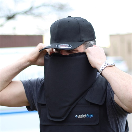 BulletSafe says its new Bulletproof Bandana protects the wearer's face and neck from handgun bullets. (Photo: BulletSafe)