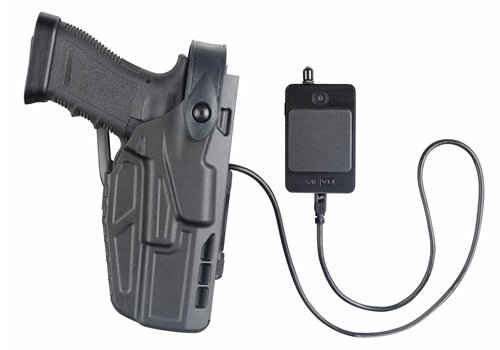 The 7TS CAS holster uses a wired connection to the camera.