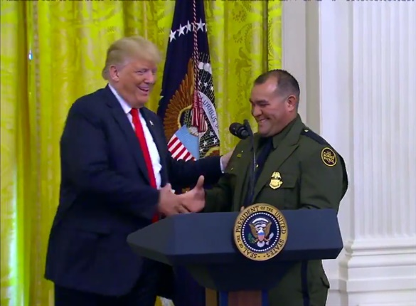 Trump called Customs and Border Protection Agent Adrian Anzaldua to the podium to tell the story of how he rescued 78 people from a locked trailer near Laredo, TX. Trump praised Anzaldua as a lifesaver.