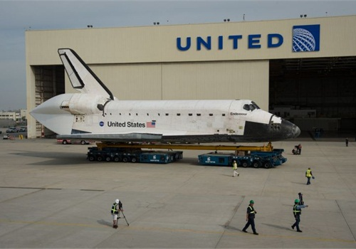 NASA's Endeavour arrives at LAX to began its final 12-mile journey on city streets today to the California Science Center. CC_Flickr: nasahqphoto