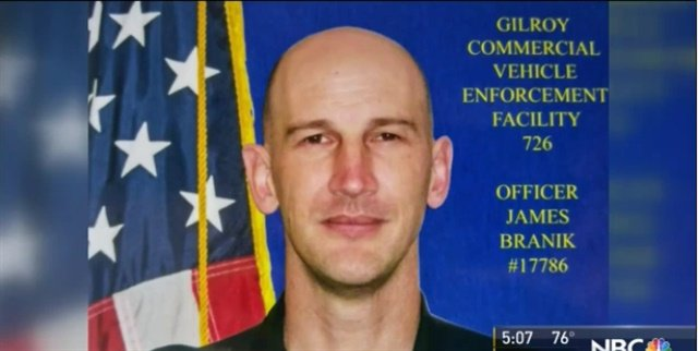 Officer James Branik of the California Highway Patrol was killed in a crash Tuesday while driving to work on his motorcycle. (Photo: NBC Bay Area screen shot)