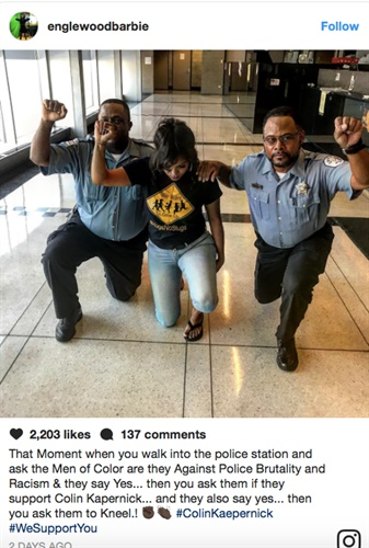 Two Chicago officers face reprimand for political activity on duty after this image was posted on social media. (Photo: Instagram)
