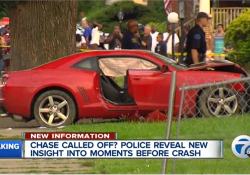 The driver of this Camaro was being pursued by Detroit officers last week when he plowed into a group of children and killed two. (Photo: Screen shot from WXYZ TV)