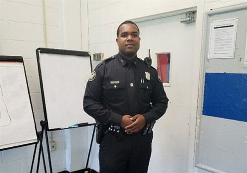 Officer James Cornelius shed more than 100 pounds and shaved ten minutes from his mile-and-a-half run in order to achieve his goal of joining the Atlanta Police Department. Image courtesy of APD / Twitter.