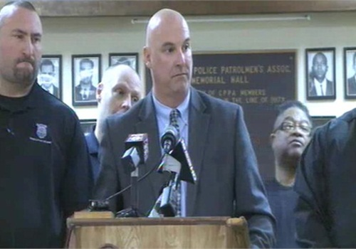 Jeffery Follmer, president of the Cleveland Police Patrolman's Association, addresses the media. Screenshot via WKYC.