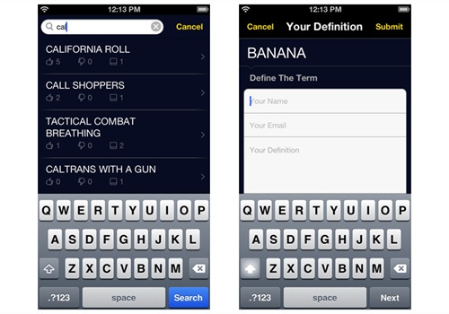 The Cop Slang mobile app allows you to add and rate terms. Screenshot via PoliceMag.com.