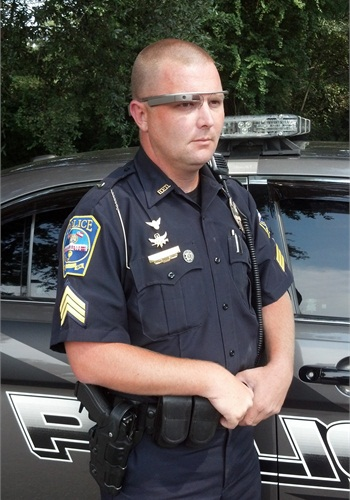Officer wearing Google Glass (Photo: CopTrax)