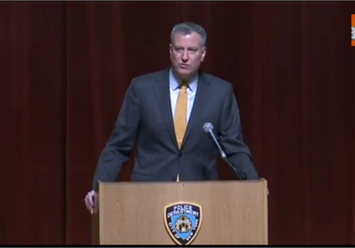 Mayor Bill de Blasio speaking at a recent NYPD swearing-in ceremony. (Photo: YouTube)