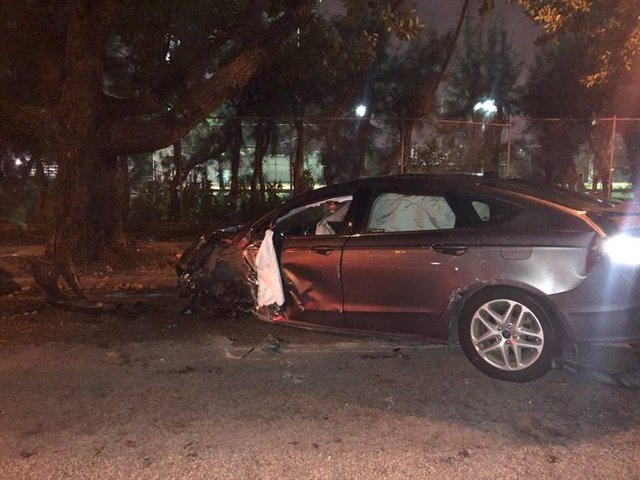 Miami Beach officers say this unmarked police vehicle was stolen Sunday night by a homeless suspect and then wrecked. (Photo: Miami Beach PD)