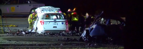 Two Des Moines officers were killed early Saturday morning when their vehicle was hit by a wrong-way driver on the Interstate. (Photo: KCCI screen shot)