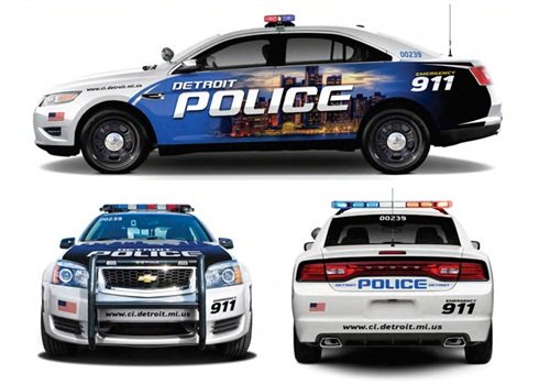 The Detroit PD will receive 100 donated patrol sedans, including Ford Police Interceptors (top), Chevrolet Caprice PPVs (left), and Dodge Charger Pursuits. Renderings courtesy of city of Detroit.