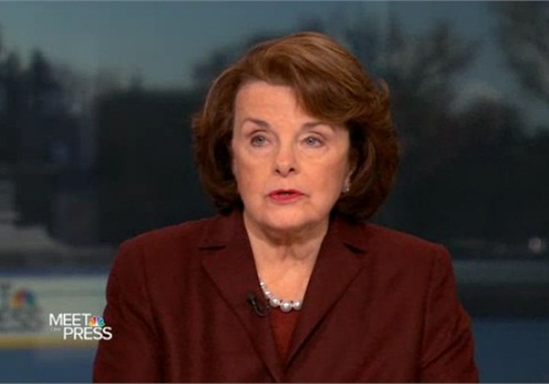 """U.S. Sen. Diane Feinstein discusses a new assault weapons ban on """"Meet the Press."""" Screenshot via NBC News."""