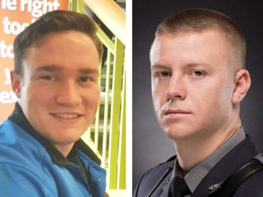 Cadet James Watts (left) and Patrolman Robert DaFonte of the Dover Police Department were killed in an early morning accident Sunday in West Dover.(Photo: Dover Police Department)