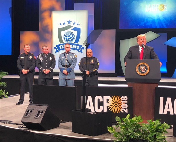 The four nominees for IACP/Target Officer of the Year were called to the stage Monday by President Trump. (Photo: IACP/Twitter)