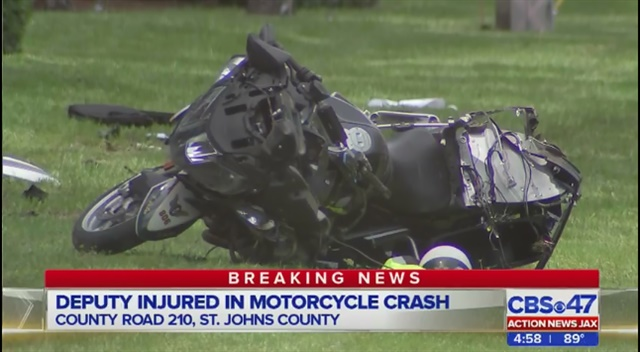 St. Johns County, FL, deputy Deputy Tony Deleo was seriously injured in an on-duty crash Friday. His injuried are said to be non life-threatening. (Photo: ActionNewsJax screenshot)