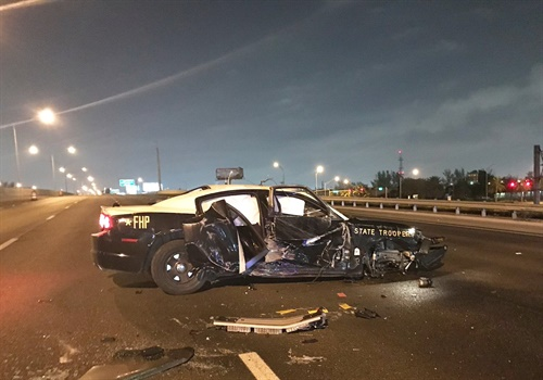 Florida Highway Patrol said the trooper involved in a roll-over crash is OK. Image courtesy ofFlorida Highway Patrol / Twitter.