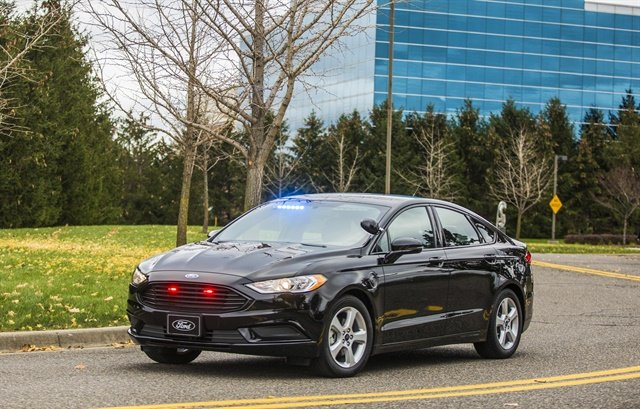 The Ford Special Service Plug-In Hybrid Sedan was designed for police operations that do not require pursuit-rated vehicles. It can be driven up to 21 miles with no fuel. (Photo: Ford)