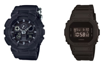 Casio G-Shock GA100BBN-1A and DW5600BB-1 Black Out series watches. (Photo: Casio G-Shock)