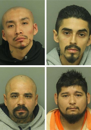 Four men are charged in the attack on the deputy. (L-R) Delfino Alejo, Miguel Angel Moreno, Gabriel Moreno, and Remi Nambo. (Photos: CCBI/Police)