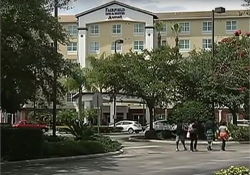 The officer was carjacked in the parking lot of the Fairfield Inn on Universal Drive. (Photo: YouTube)