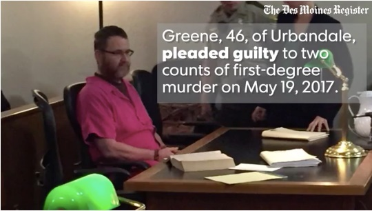 Scott Michael Greene was sentenced to two life sentences after he pleaded guilty Friday to murdering two Iowa officers. (Photo: Screen shot from Des Moines Register video)