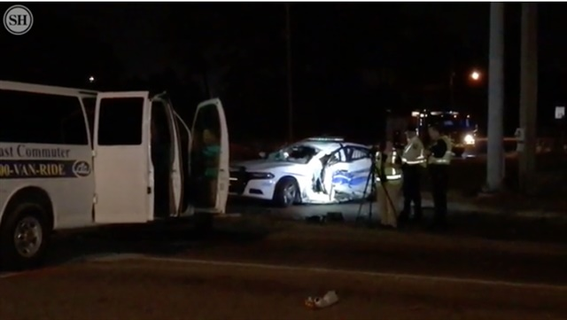 A Gulfport Police officer was seriously in a crash with a van reported as stolen Monday night. (Photo: Sun Herald Video Screen Shot)