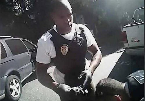 Officer Brentley Vinson shown in a police video at the scene of last year'sfatal shooting ofKeith Lamont Scott. (Photo: CMPD)