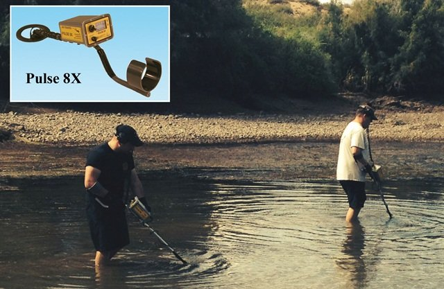 New Mexico State Police use the Pulse 8x to search for a gun in shallow water of the Rio Grande. Photo: JW Fishers
