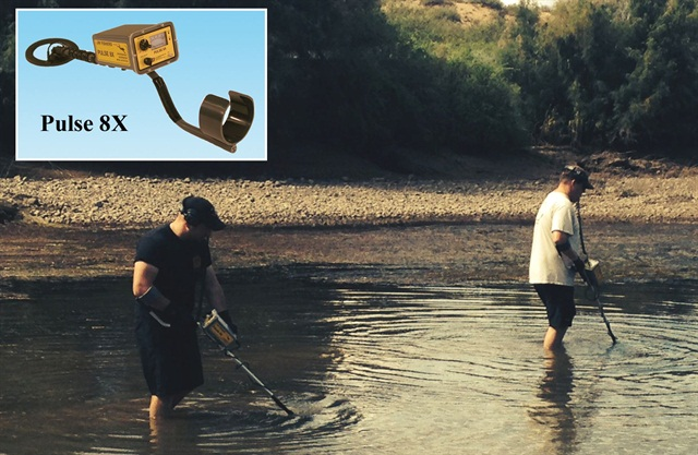 New Mexico State Police use the Pulse 8x to search for a gun in shallow water of the Rio Grande.