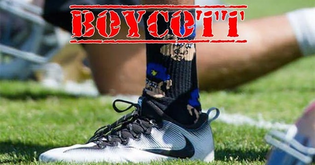 Blue Lives Matter has called for a boycott of Nike because of its 30th anniversary marketing campaign featuring ex-NFL quarterback Colin Kaepernick. In 2016, his last season in the NFL, Kaepernick wore these pig socks in practice to make a statement about police. (Photo: Blue Lives Matter)