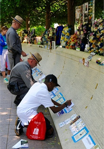 One of the walls of names at the National Law Enforcement Officer's Memorial during National Police Week. The memorial was the dream of Congressman Mario Biaggi. (Photo: Lynn Cronquist Photography)