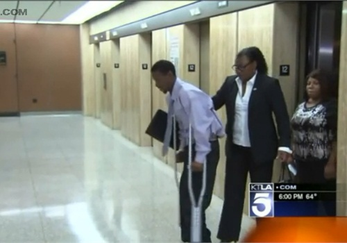 The Los Angeles County District Attorney's Office alleges that Clinton Alford Jr. (pictured) was beaten by an LAPD officer. (Photo: KTLA screen shot)