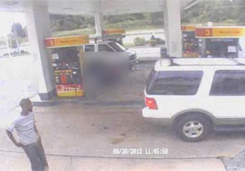 Video surveillance still from Shell gas station in Laurel. Photo: PGPD