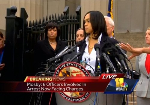 Baltimore City State's Attorney Marilyn Mosby when she announced six Baltimore police officers were being charged in the Freddie Gray in-custody death. (Photo: WBAL TV Screen Shot)