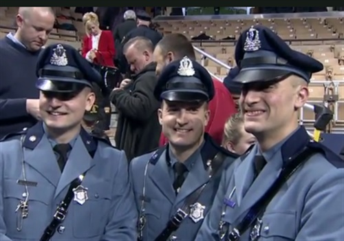 From left to right: Mark Weddleton, Stephen Weddleton, and Ross Weddleton at Ross' Massachusetts State Police Academy graduation. Their father, Sgt. Douglas Weddleton of the Massachusetts State Police, was killed in the line of duty in 2010. (Photo: WHDH Screen Shot)
