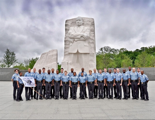D.C. Metro Police recruits at the Martin Luther King Jr. Memorial. (Photo: DC Metro PD)
