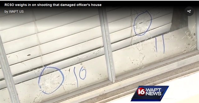 Jackson, MS, police say 30 pistol and rifle rounds were fired into a local police officer's home. (Photo: Screenshot from WAPT video)