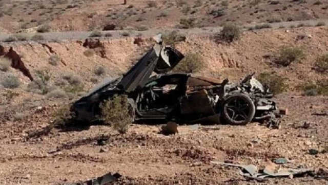 This wrecked McLaren 720 was found in the desert last week by Nevada troopers. Despite the apparent violence of the crash, the occupants walked away. (Photo: Nevada Highway Patrol)