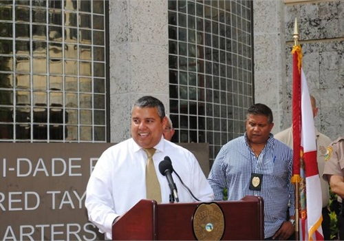 Detective Castillo addresses the media following the verdict. Photo courtesy of Miami-Dade PD.