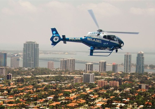 A Miami PD EC120 patrols over that city. Photo courtesy of American Eurocopter.