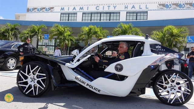 Miami PD's new three-wheel Polaris Slingshot was donated by the company to be used as a head-turning vehicle for community outreach. Photo: Miami PD
