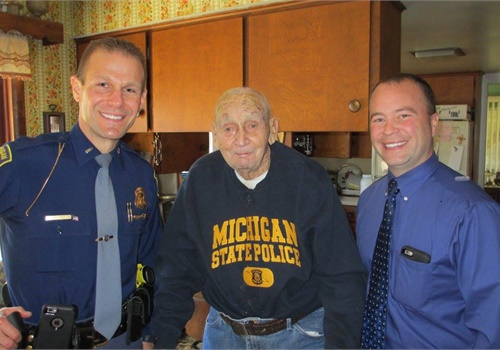 Sgt. Clarence Bonter, retired, turned 107 (Photo: Michigan State Police/Facebook)