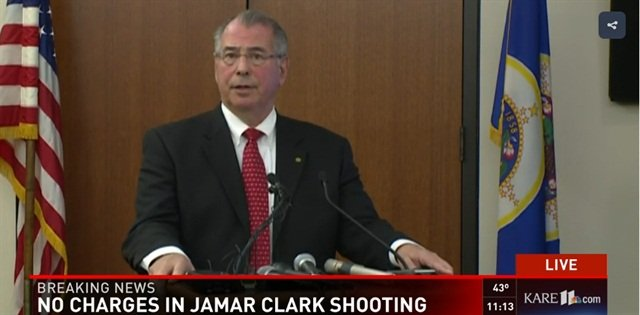 Hennepin County Attorney Mike Freeman this morning explained why officers were justified in the November shooting and killing of Jamar Clark. (Photo: Screen shot from live coverage of news conference by KARE TV)