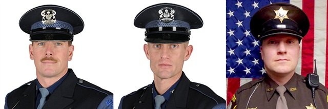 Left to right: Trooper Rick Carlson and Trooper Jim Leonard of the Michigan State Police, and Deputy Justin Holzschu of the Otsego County (MI) Sheriff's Department (Photo: NLEOMF)