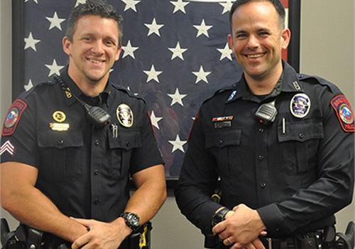 Sgt. Anthony Schnacky and Officer Matthew Curry of the Rosenberg (Texas) Police Department are the recipients of NLEOMF's Officer of the Month Award for June 2015. (Photo: NLEOMF)