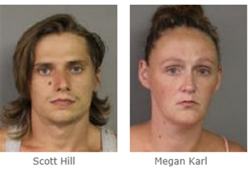 The driver—identified as 26-year-old Scott Hill—and his passenger—identified as 26-year-old Megan Karl—were arrested for Endangering the Welfare of a Child. Hill was also charged with Unlawful Possession of Marihuana. Image courtesy of New York State Police.