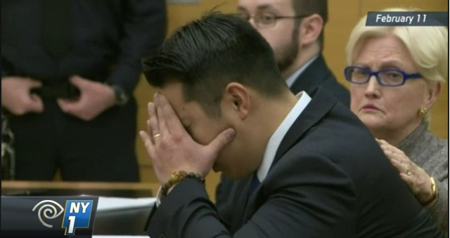 Former NYPD officer Peter Liang during his February trial. (Photo: NY1 screen shot)